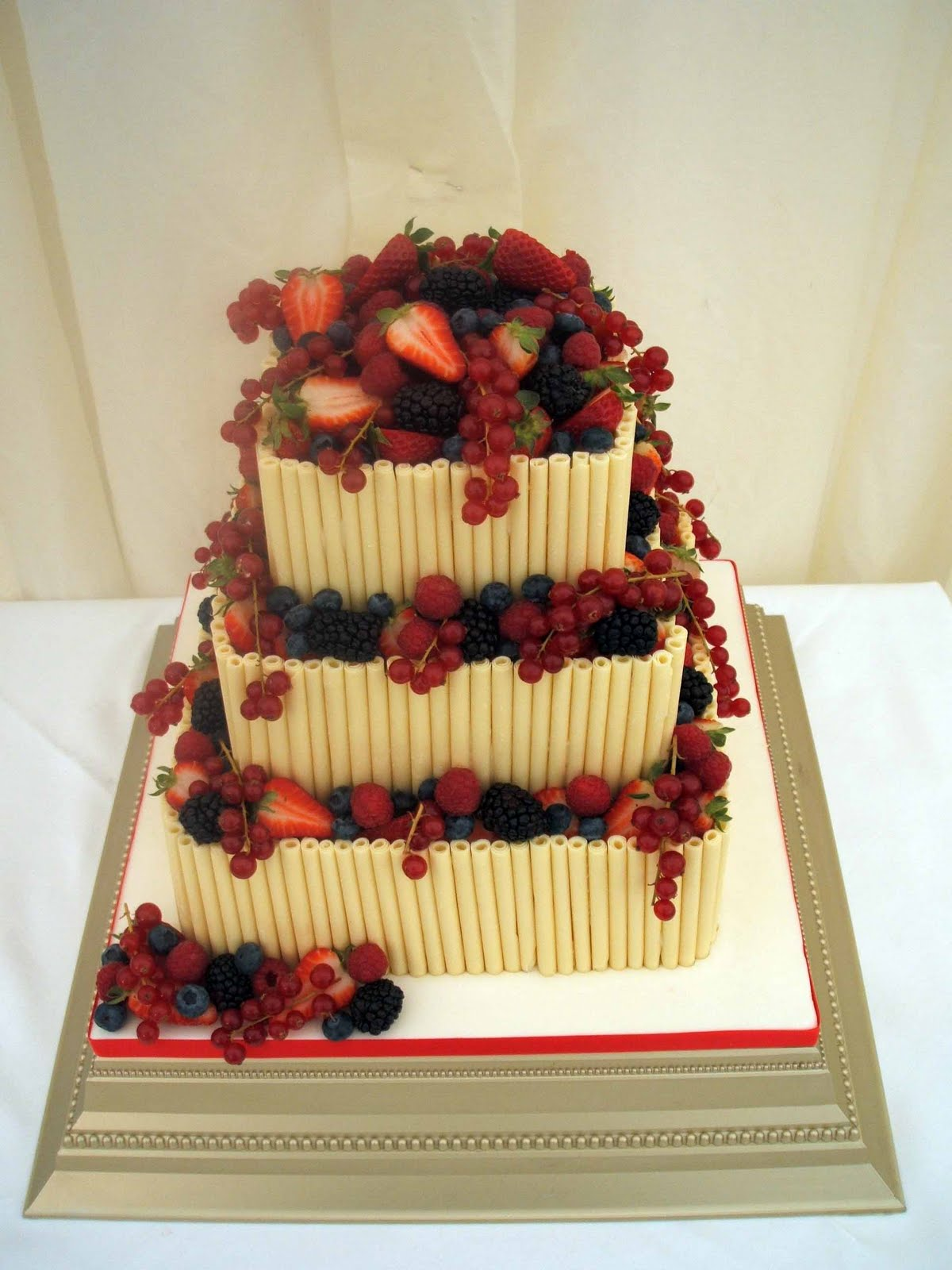 Square white wedding cake with