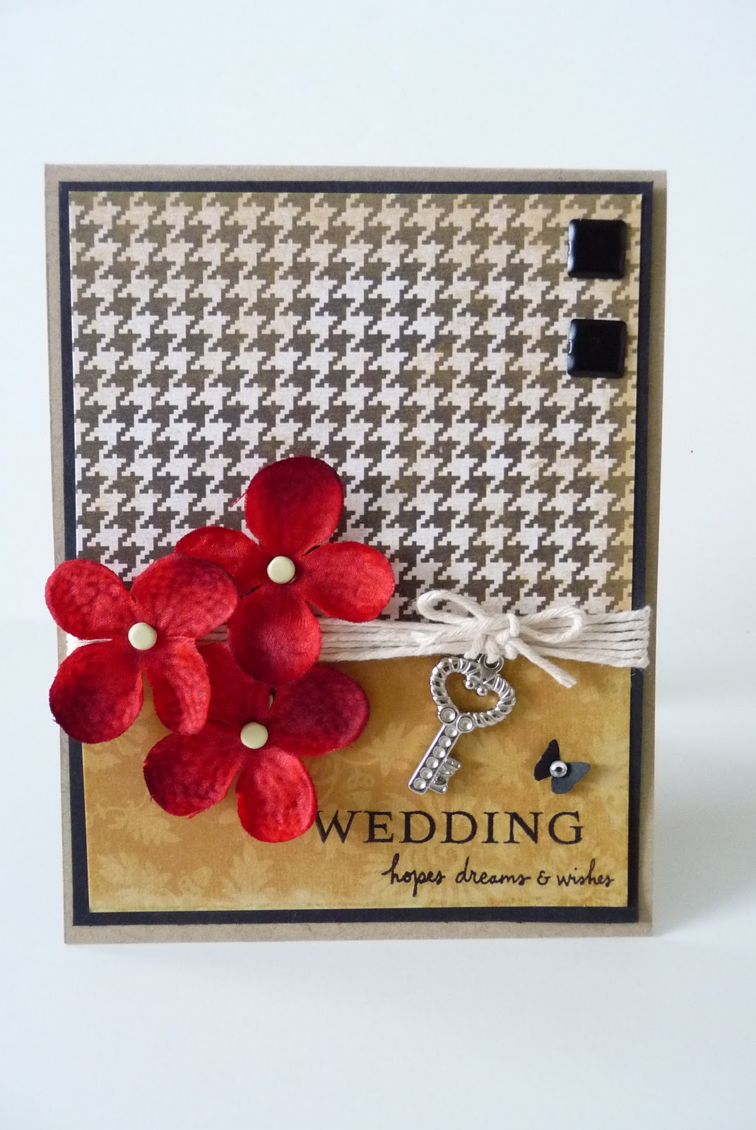 white and red wedding card