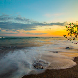 Yellow Reflections by Raymond Pauly - Landscapes Beaches ( beach photo, sunset, costa rica, long exposure, slow shutter, high tide, esterillos oeste )