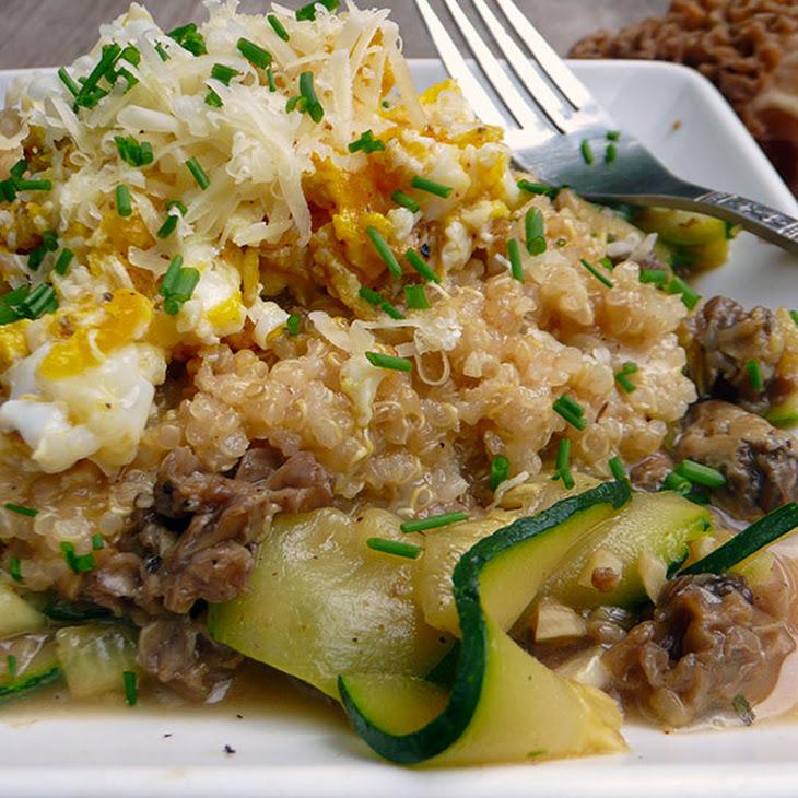 Zucchini Tagliatelle with Wild Mushrooms, Cheesy Quinoa & Egg Recipe ...
