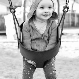 by Felicia Harvey - Babies & Children Toddlers ( child, playground, girl, park, black and white, toddler, swing )