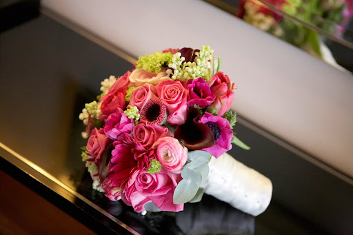 hot pink black wedding