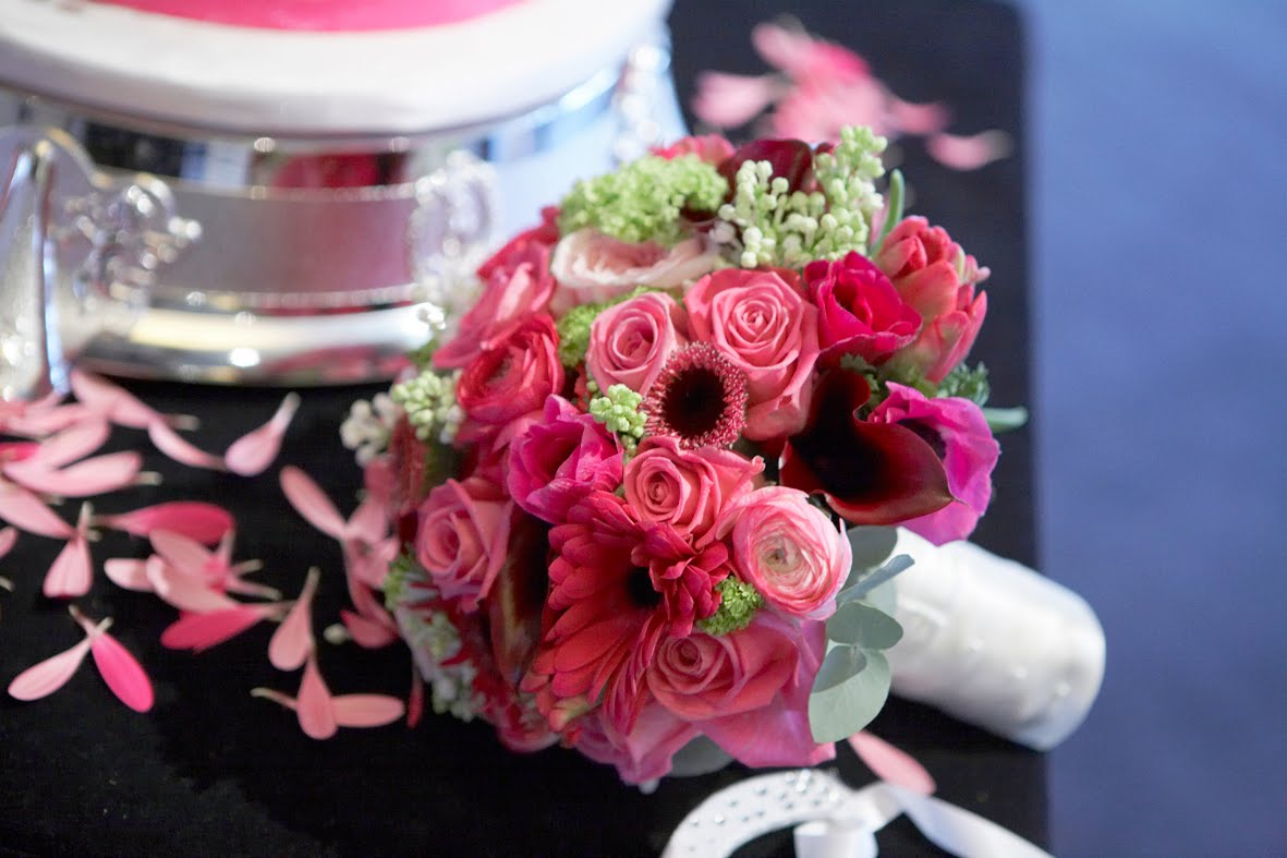 hot pink black wedding