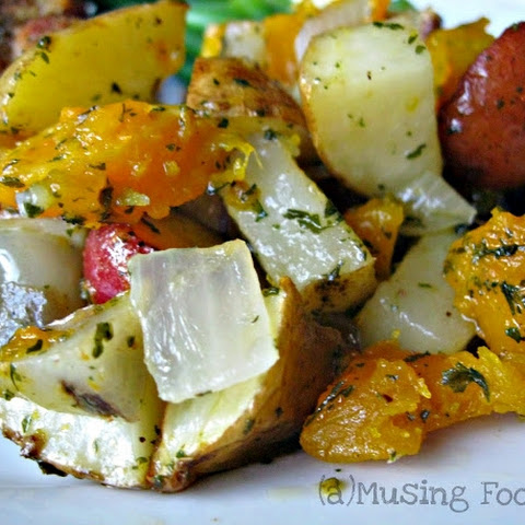 Roast Potatoes, Butternut Squash, Peppers and Onions