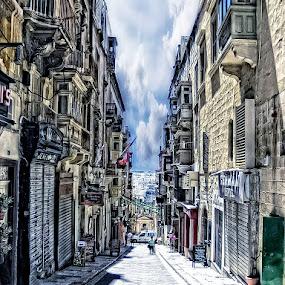 Downhill by Lino Chetcuti - City,  Street & Park  Markets & Shops