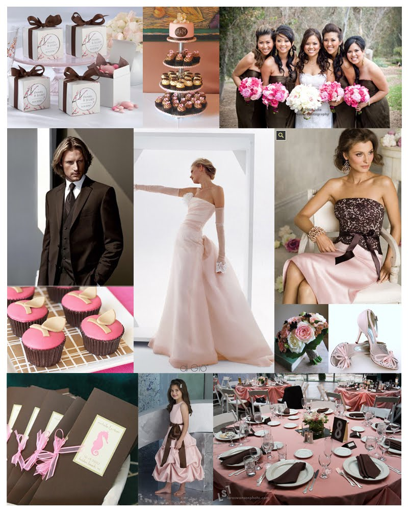 pink and brown weddings