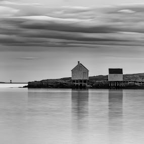 Willard Beach by Tom Whitney - Black & White Landscapes ( clouds, water, sunset, landscape, willard beach, , black and white, b&w )