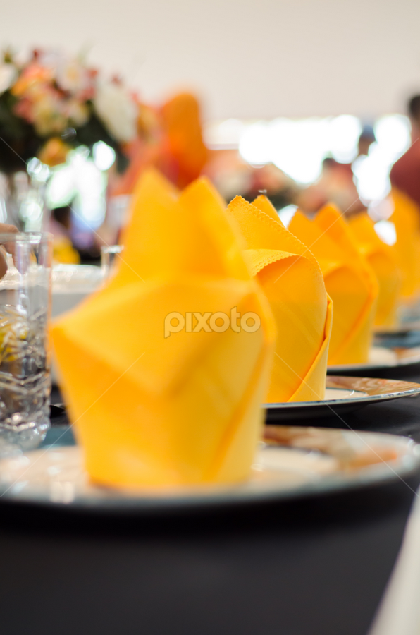 Wedding Tables Setting by Shahril Khmd - Wedding Reception ( cake, heart, spoons, glasses, joy, tablecloths, table, blur, marriage, setting, love, forks, married, plates, family, wedding, food, handkerchiefs, flowers, fine )