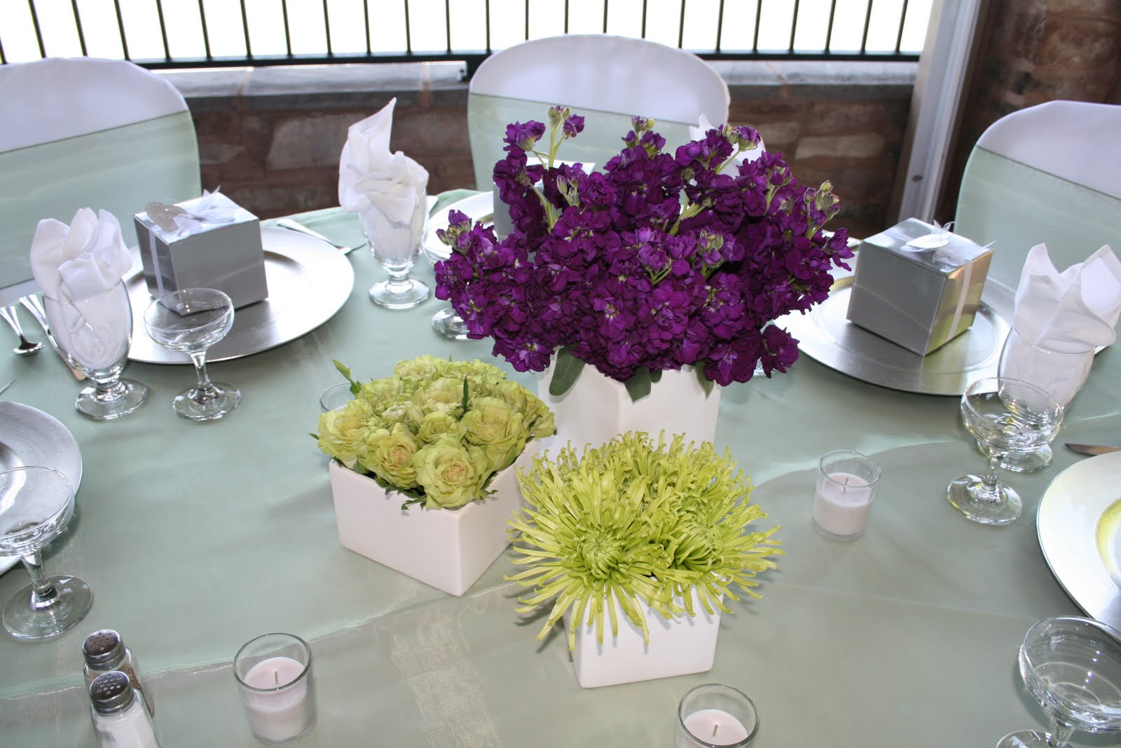 eggplant and green wedding