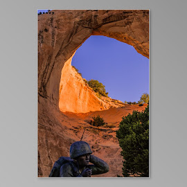 Code talker monument by Daniel Nugent - Landscapes Caves & Formations ( sky, window, blue, marines, rock, sunrise,  )