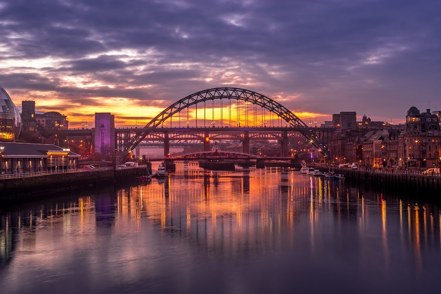 Tyne Sunset by Adam Lang - Buildings & Architecture Bridges & Suspended Structures ( tyne bridge, reflections, sunset, river, bridges )