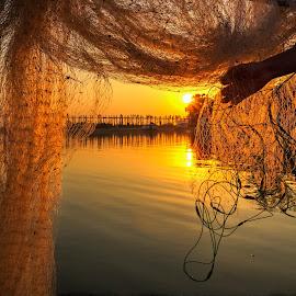 the oldest and longest teakwood bridge in the world by John Htet - Landscapes Travel ( myanmar, frame, sunset, travel, bridge )
