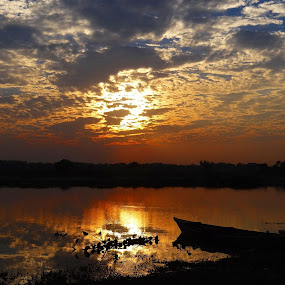 It never means that the next day will be cloudy. by Subrata Sarkar - Landscapes Sunsets & Sunrises