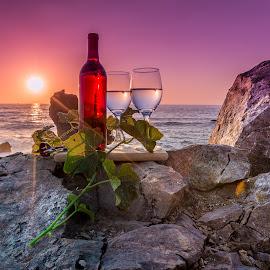 by Becca McKinnon - Artistic Objects Still Life ( wine, erueka, 2015, trinidad, williams, july, ocean, particks point, coast )