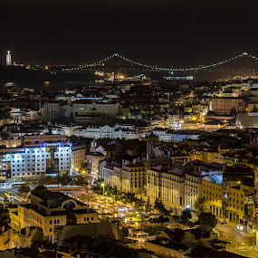 lisbon by Miguel Lapa - City,  Street & Park  Night ( lisbon portugal, night, lisboa )