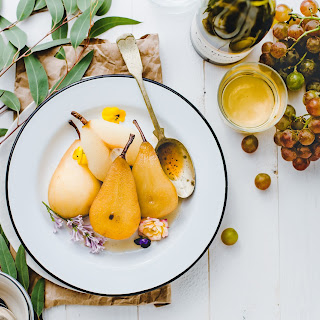 Jasmine White Wine Poached Pears