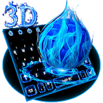 3D Blue Fire Ball Keyboard Theme Icon
