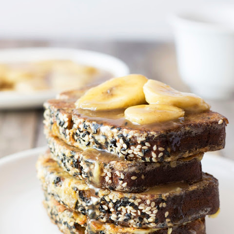 Bananas Foster Sesame-Banana Bread French Toast