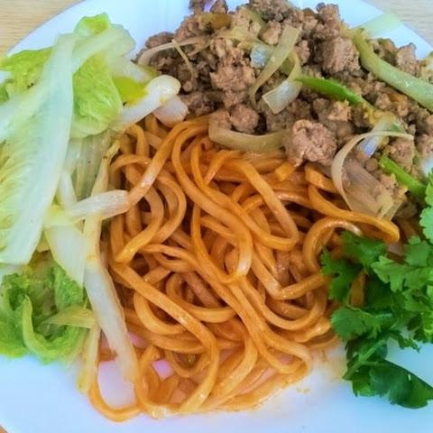 Noodles With Korean Gochujang And Meat Topping