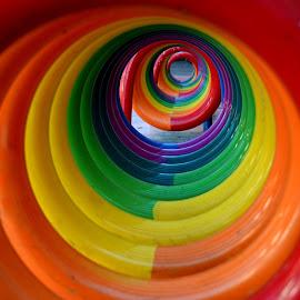 Rainbow tunnel by Kinne Bassett - Abstract Patterns ( copenhagen, colors, circle, rainbow, depth, tunnel )