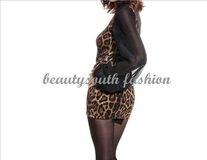 Women Leopard Chiffon Lace Backless Clubwear Mini Dress | eBay