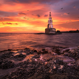 Amazing sunrise by Atanas Donev - Landscapes Waterscapes ( sky, lighthouse, sea, sunrise, rocks )