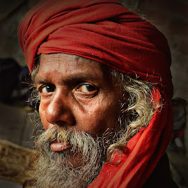 The Worrior Monk by Arnab Bhattacharyya - People Portraits of Men