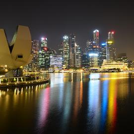 Art Science Museum Marina Bay Sands Singapore by Cris Lhh - City,  Street & Park  Night ( water reflection, reflection, marina bay sands singapore, mbs, marina bay sands, museum, art science museum marina bay sands singapore )