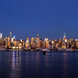 Manhattan Just Before Moonrise, 7/31/15 by Judy Florio - City,  Street & Park  Skylines ( skyline, reflection, night, manhattan, weehawken, cityscape, ny, hudson river )