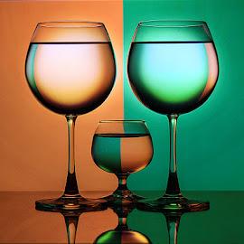 Orange n Green by Rakesh Syal - Artistic Objects Glass
