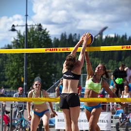 Beach volley by Simo Järvinen - Sports & Fitness Other Sports ( sand, ball, volleyball, beach volley, sports, summer, spectators, game, women )