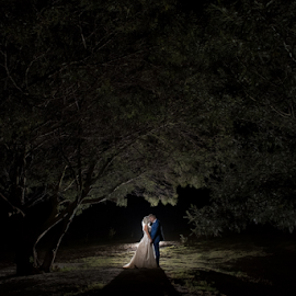 Night Shade by Lood Goosen (LWG Photo) - Wedding Bride & Groom ( bride, love, wedding dress, groom, couple, wedding photography, bride groom, weddings, night, wedding day, kiss, bride and groom, wedding, night photography )