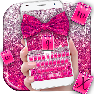Pink Glitter Bow Keyboard Theme For PC