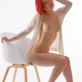 White&black&red by Michaela Firešová - Nudes & Boudoir Artistic Nude ( nude, redhead )