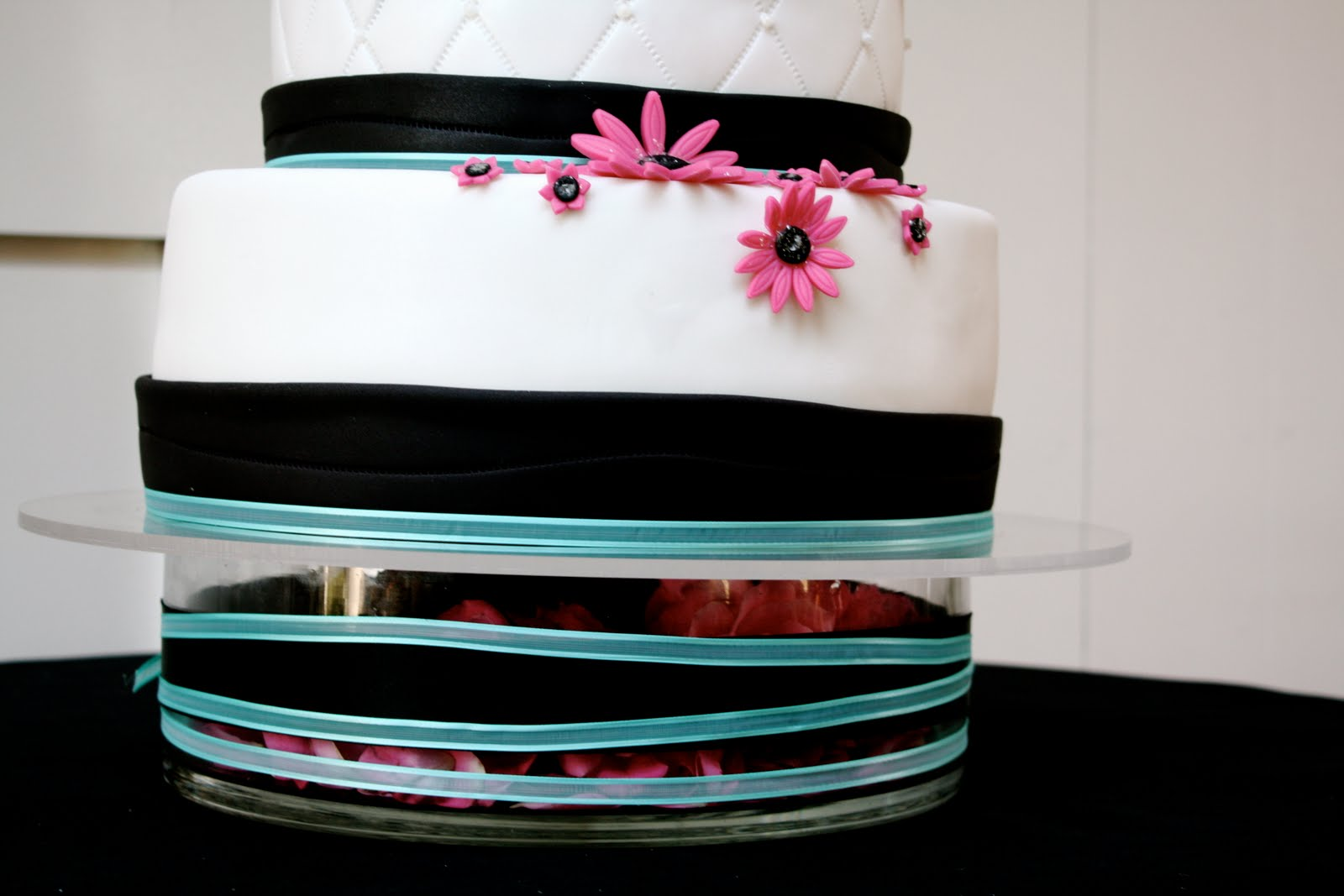 aqua, black, and pink wedding