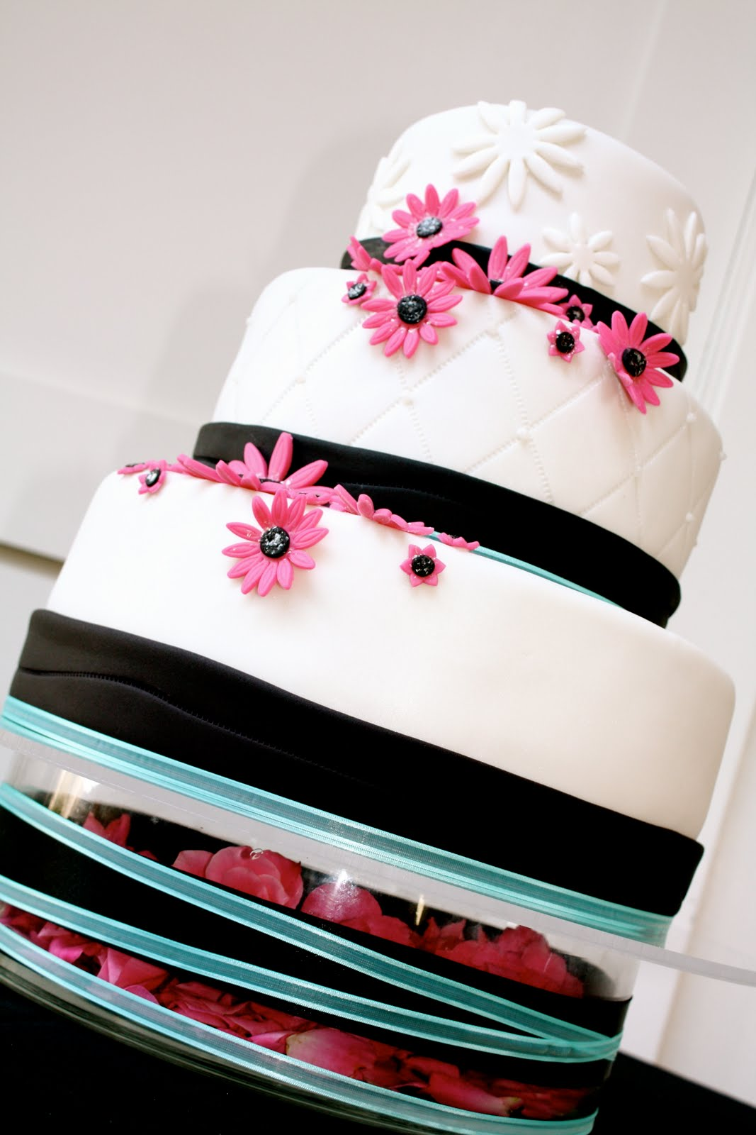 aqua, black, and pink wedding