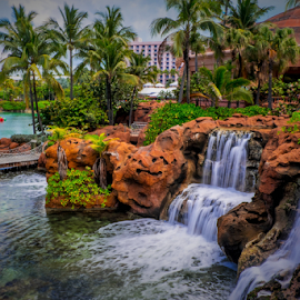 Atlantis Park by Joseph Law - City,  Street & Park  City Parks ( park, bushes, waterfall, reflections, trees, rocks, atlantis )