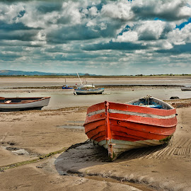 Boats by Janet Packham - Landscapes Waterscapes ( water, red, blue, boats, tide, sea, fishing, low )