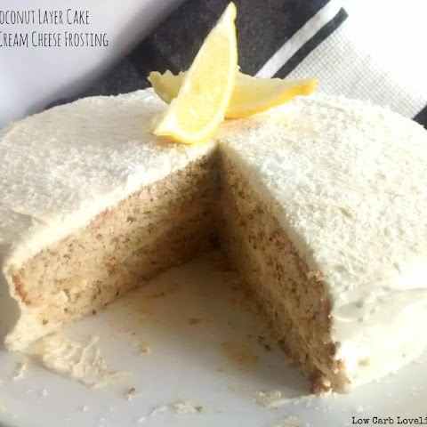 Lemon & Coconut Cake Layer Cake w/ Lemon Cream Cheese Frosting