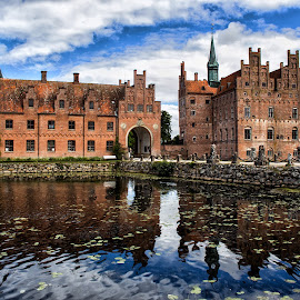 Egeskow Castle,  ancient home by Gianluca Presto - Buildings & Architecture Homes ( water, egeskov castle, home, water reflection, reflection, romantic, reflections, architectural detail, house, architecture, historic, ancient, ancient home, sky, castle, denmark, historical, homes )