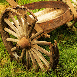 Left behind by Glenda Clausen - Artistic Objects Antiques ( wood, wheels, iron rims, antique, spokes )