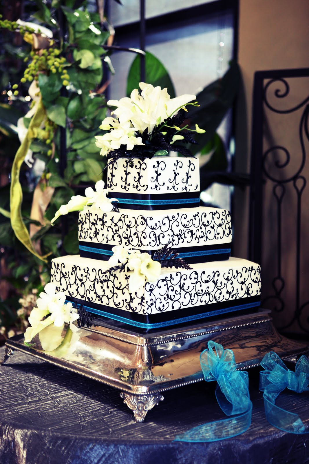 black and turquoise wedding