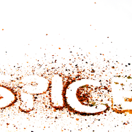 Spice text with spices powder. by Dipali S - Food & Drink Ingredients ( cayenne, aroma, cuisine, herbs, spice, ground, powder, pepper, yellow, spices, close, seasoning, paprika, allspice, ingredient, pile, closeup, isolated, dry, texture, spicy, white, culinary, kitchen, curry, chili, up, organic, red, herb, food, background, turmeric, flavoring )