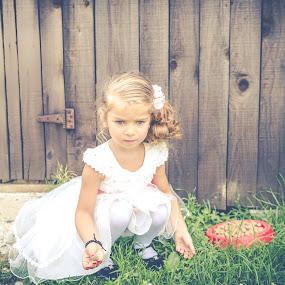 Innocent by Andreea Alexe - Babies & Children Children Candids ( child, curly, blonde, dress, food, white, dog, hair, bowls,  )