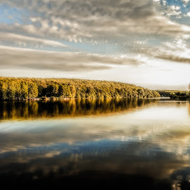 The Lake by Plamen Mirchev - Uncategorized All Uncategorized ( green, blue, sunset, wood, clouds, lake, water, landscape,  )