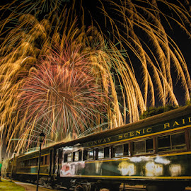 Fireworks  At The Train Station by Chris Cavallo - Public Holidays July 4th ( new hampshire, celebration, 4th, nightscape, july, long exposure, fireworks, trains, colorful, transportation, night photography,  )