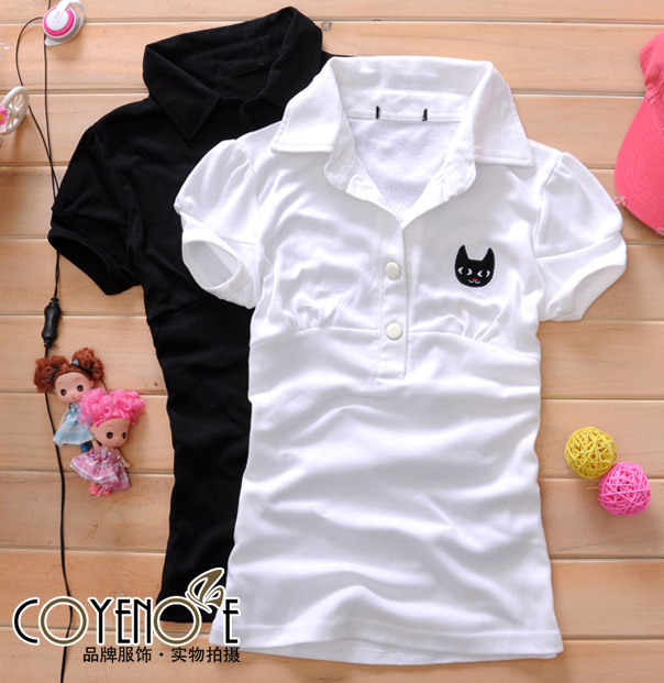 New Women Causal Cartoon Cat Short Sleeve Polo T-shirts A1435-02.
