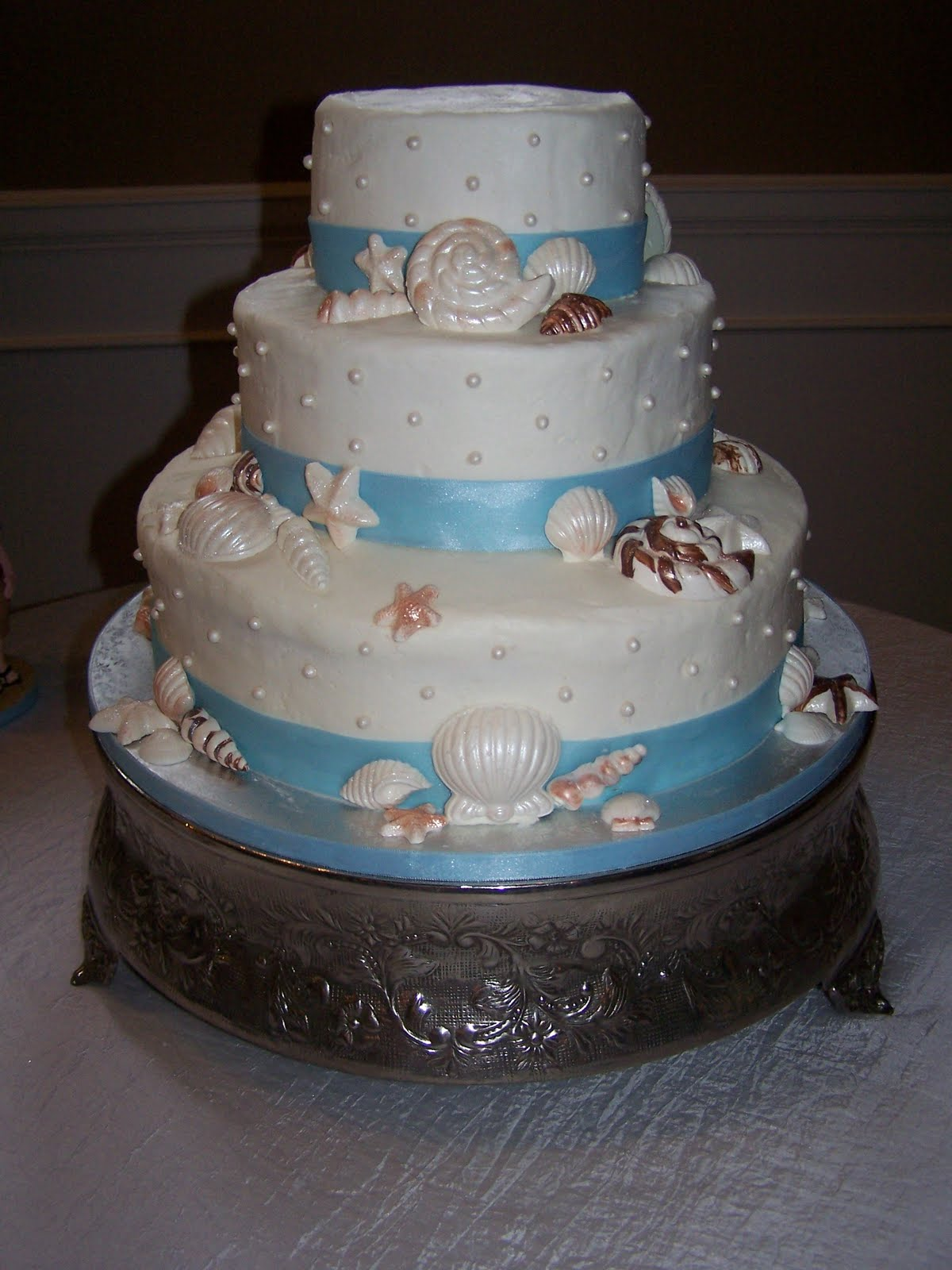 Beach Theme Wedding Cake. Congratulations Stephanie and Chris!