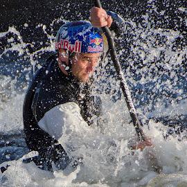 Kayaker by Michaela Firešová - Sports & Fitness Watersports ( water, blue, drops, kayak, eye )