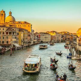 Venice Grand Canal by Natalia Photography - City,  Street & Park  Vistas ( discover, explore, beauty, city vista, city scene, canon 70d, boats, colors, gondola, venetia, adventure, venice, italia, grand canal, golden hour, sunset, buildings, travel, vista, europe, italy )